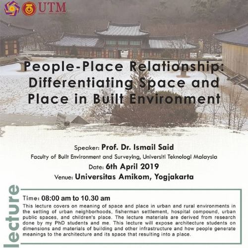 Studium Generale 06: People-Place Relationship, Differentiating Space and Place in Built Environment