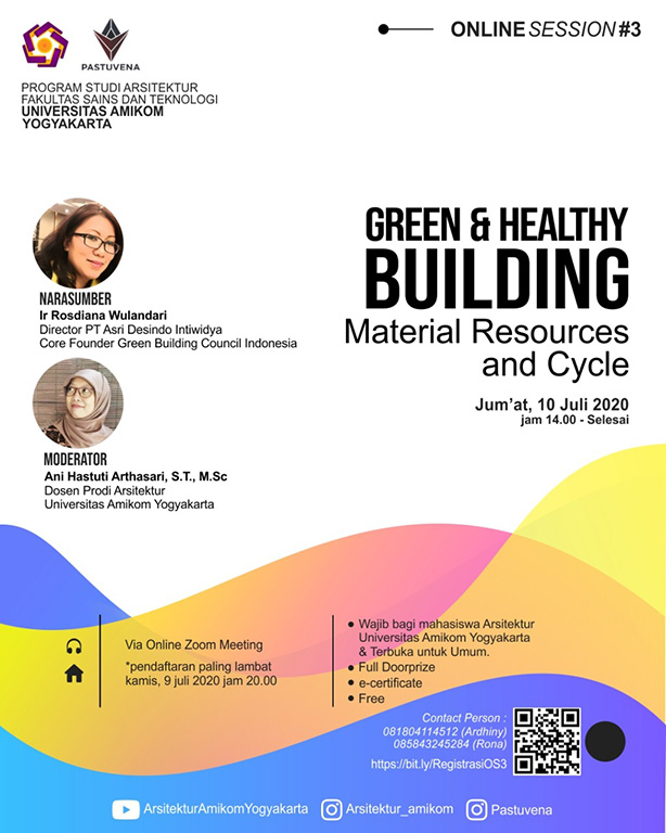 Arsitektur Amikom Online Session #3: Green & Healthy Building,  Material Resources and Cycles